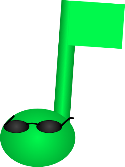MoodShuffle logo, a musical note wearing sunglasses